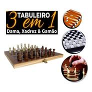 Jogo Tabuleiro Madeira 3x1 Xadrez Dama Gamão Lazer Amigos