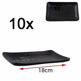 Kit 10 Travessa Melamina Black Retangular P/ Sushi 18x11