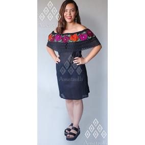 Vestido Artesanal Mexicano Mod. Campesina Bordado P. De Cruz