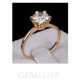 Anillo Compromiso Solitario Plata Oro 24k Diamante 1.00ct