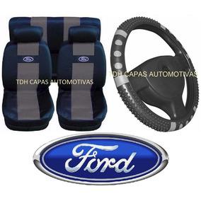 Fiesta Hatch Kit Cinza Capa Banco Carro Logo Ford + Volante