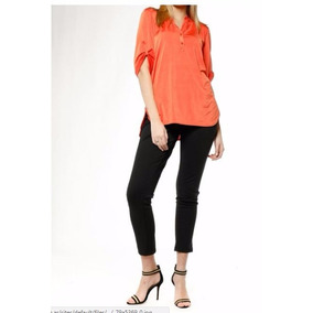 Blusa Naranja Camisola Camisa 3/4 Cuello Mao