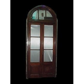 Puerta Antigua Cancel Medio Punto Vidrio Biselado. Art 1288