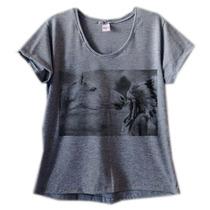 Camiseta Baby Look Cinza Cavalo T Shirt Blusa Estampa Índia
