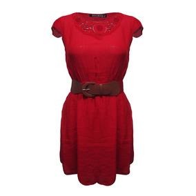 Vestido Rojo Manga Corta Cinturon Dama Mujer Zoara