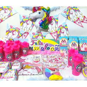 Kit Fiesta Unicornio Cumpleaños Niña Arcoiris Piñata Infanti