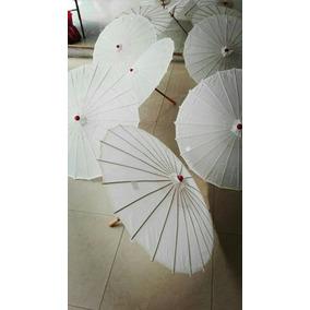 10 Sombrillas Chinas Lisas Blancas+envio Gratis
