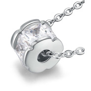 Collar Cilindro De Chapa De Oro Con Zirconia - 1115