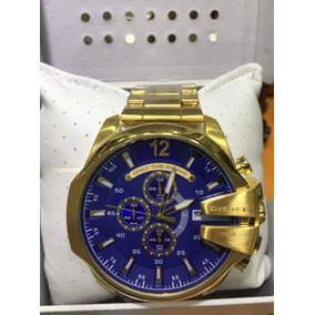 Relogio P694 Diesel Original Dourado Fundo Azul