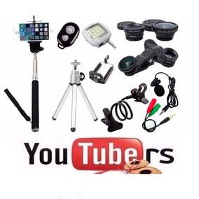Kit Youtuber Mini Tripé Bastão Selfie Microfone Lapela Top