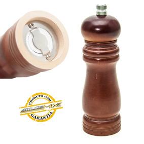 Moedor Pimenta Sal Tempero Em Madeira E Triturador Cerâmica