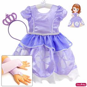 Vestido Fantasia Princesa Sofia Infantil Luxo Coroa Luvas