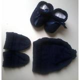 Kit Em Tricô Para Recém-nascido ( Sapatinho, Touca E Luvas)