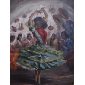 Pintura Taurina Antigua Al Oleo Bailaoras Pintor Jose Puente