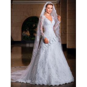 Vestido De Noiva + Véu - Frete Grátis