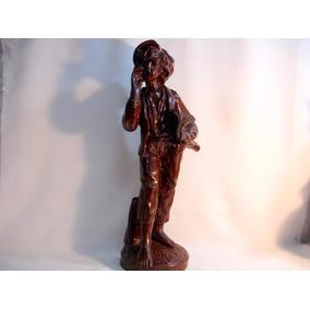 Jornaleiro Antiga E Grande Escultura Em Gesso Rara Déc 40/50