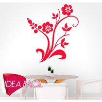 Vinilo Decorativo Rama Y Flores - 90 Base X 100 Altura
