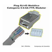 Zprj45m Plug Rj-45 Reforzado Modular Cat 5-6-6a Computoys