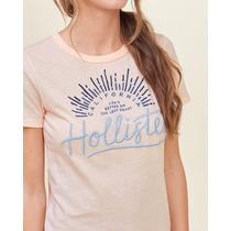 Hollister Camiseta Feminina Rosa Escrito Em Azul Tamanho M