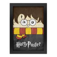 Quadro Poster Harry Potter Com Moldura Preta A4 24x 33
