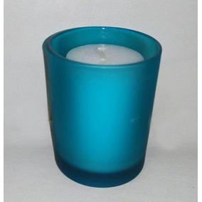 Vasito Azul Con Vela Blanca Para Souvenirs 15 Años Bodas