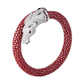 Bracelete Galuchat- Prata Italiana E Couro De Arraia
