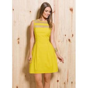 Vestido Feminino Evasê Tule Transparência Amarelo Oferta