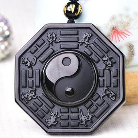 Amuleto Da Sorte Chines - Bagua - Yin Yang - Pedra Obsidiana