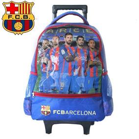 Mochila Infantil Con Carro, Fc Barcelona Original Con Messi