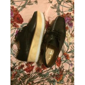 Zapatos Negros De Agujetas Con Plataforma Michel Domit