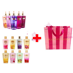 Kit 10 Body Splash + 10 Cremes Victoria Secrets + 10 Sacolas