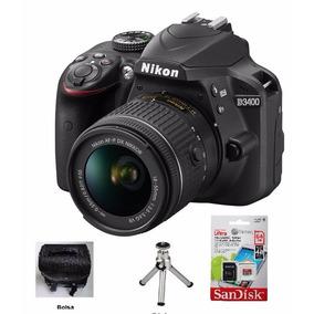Camera Nikon D3400 Lente 18x55mm Mais 64gb Bolsa E Tripe