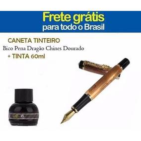 Caneta Tinteiro Bico Pena Dragão Chines Dourado + Tinta 60ml