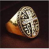 Anel Artesanal Cruz Bizantina Aro 22 A 24 Banhado Ouro/prata
