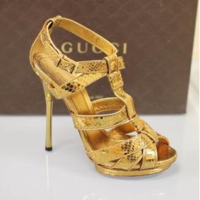 Zapato Italiano Gucci Piel Pitón Cobrizado En Caja Nuevos