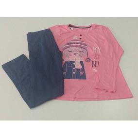 Pijama Feminino Infantil Ursinho Com Cachecol