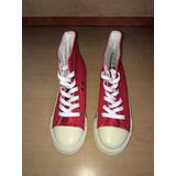 Botines De Cuero Rojo Tipo Converse, Talla 38