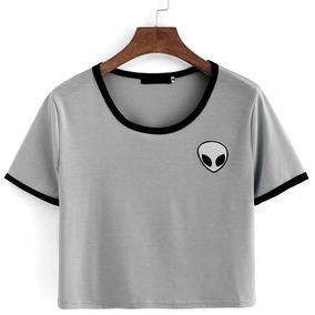 Blusa Camiseta Cropped Et Alien