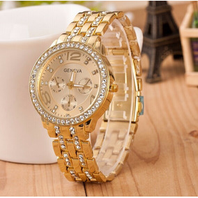 Relógio Feminino Geneva Pulseira Dourada Com Strass Promoção