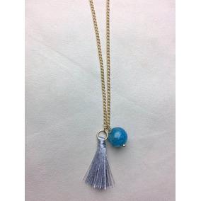 Collar Pompones Oro Borla Protección Azul Boda Moda Mujer
