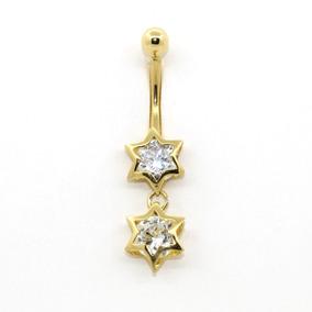 Piercing De Umbigo Em Ouro 18k (750) Estrela Dupla C/ Pedra