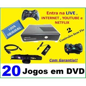 Xbox 360 2 Controles Sem Fio Originais Kinect Live +20 Jogos