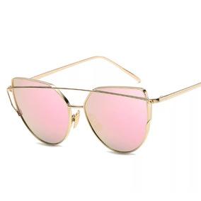 Óculos De Sol Feminino Espelhado Olho De Gato Com Case ffaf7bc6bf