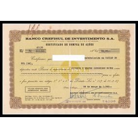 Ação - Banco Crefisul - Certificado De Compra De Ações 02