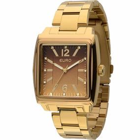 Relógio Euro Feminino Quadrado Dourado - Eu2035lrx/4m