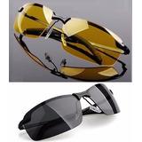 Óculos Sol Preto Fumê Amarelo Para Dirigir Noite Polarizado