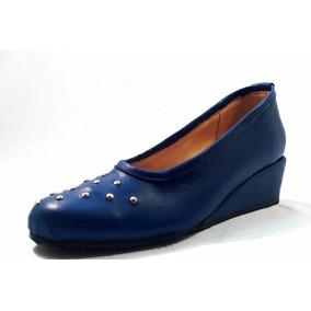 Sam123 Zapatos Taco Chino De Cuero Talles Grandes Azul Tacha