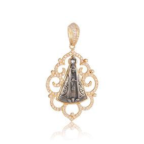 Pingente Em Prata Folheada A Ouro N. Sra. Aparecida Zircônia por Rosana  Joias e Relógios ba81be07d4