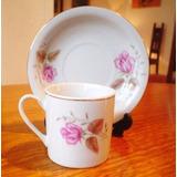 Hermosa Tacita De Café De Porcelana Blanca Con Rosas