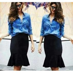 Conjunto Saia Sino Midi + Blusa Camisa Jeans Moda Evangélica